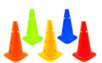 Фишка спортивная конус с отверстиями для штанги 48см (пластик мягкий,h-48см(19in), цвета в ассортименте