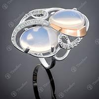 Перстень серебряный 317 Лунный Камень Rh