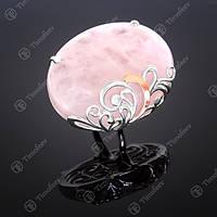 Перстень серебряный 321 Кварц Розовый Rh