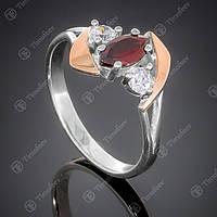 Перстень серебряный 375 Гранат Rh