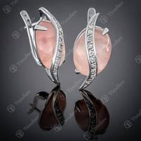 Серьги серебряные 042 Кварц розовый Rh