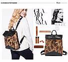 Кожаный рюкзак под крокодила Realer коричневый (687), фото 5