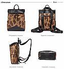 Кожаный рюкзак под крокодила Realer коричневый (687), фото 3