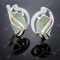 Серьги серебряные 198 Авантюрин зеленый Rh