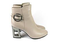 Кожаные бежевые ботинки