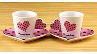 Чашки с блюдцем Сердечко Sweet Love 2 шт разных цветов розовый