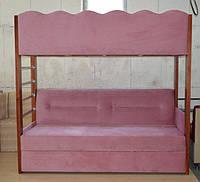 Двухярусная, двухэтажная кровать с раскладным дополнительным спальным местом