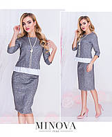 Костюм женский состоит из блузы прямого кроя и юбки-карандаш с высокой посадкой на молнии№м107-серый, фото 1
