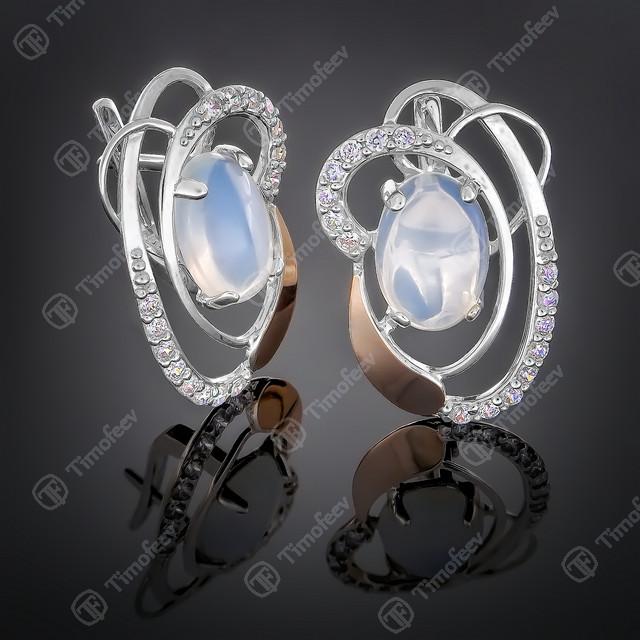 Серьги серебряные 308 Лунный Камень Rh