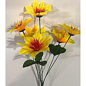 Искусственные цветы. высота букета 30 см, 6 голов. голова диаметром 8 см.