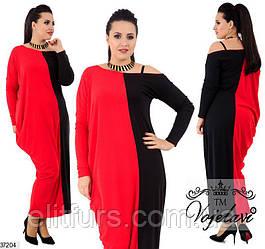 Платье макси трикотажное, свободное XL + (3 цвета)