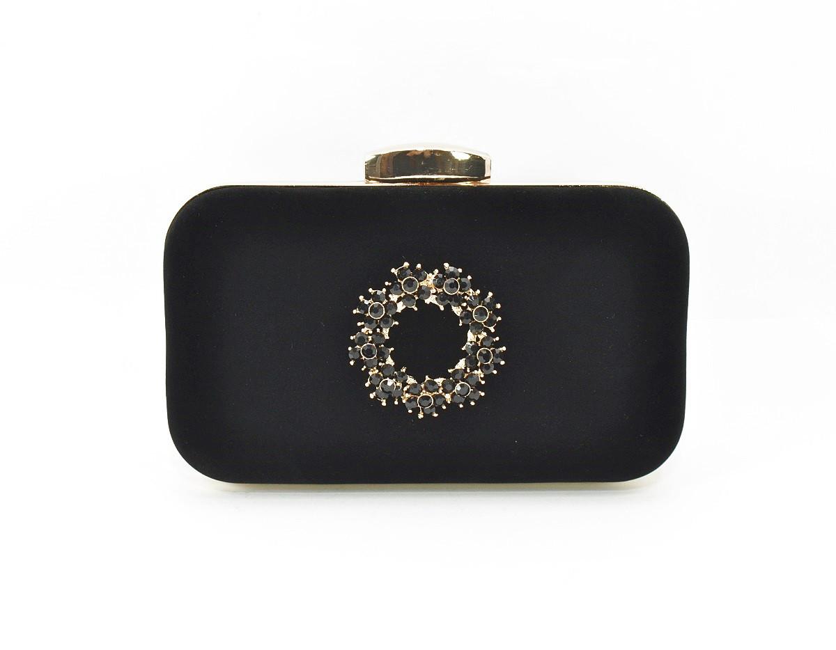 Клатч сумочка вечерняя женская велюровая черная Rose Heart 7060