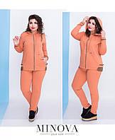 Костюм женский трикотажный состоит из куртки с капюшоном и брюк со стрелкой №090-абрикосовый