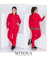 Костюм женский трикотажный состоит из куртки с капюшоном и брюк со стрелкой №090-красный, фото 1