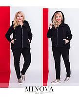 Костюм женский состоит из куртки на змейке с капюшоном и брюк №4039.30б-черный, фото 1