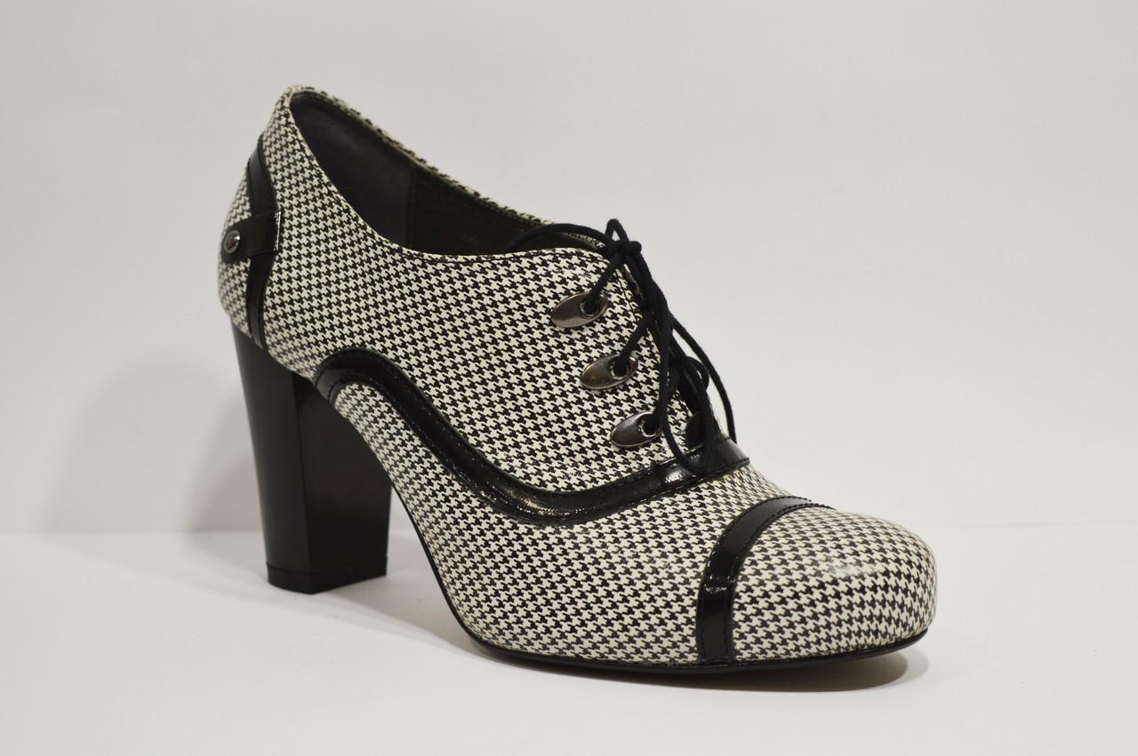 Ботинки женские кожаные черно-белые Avanti