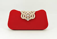 Велюровый клатч Rose Heart 1829 красный, сумочка на цепочке