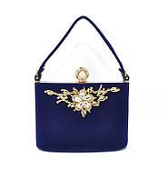 Клатч сумочка вечерняя женская велюровая синяя Rose Heart 1661