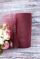 Фатин (вуаль) мягкий 15 см, 25 ярд/рулон, цвета марсала, фото 1