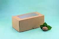 Коробка 200*110*85 для капкейков с окном (2 шт), крафт