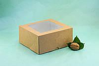 Коробка 165*165*80 для капкейков с окном (4 шт), крафт