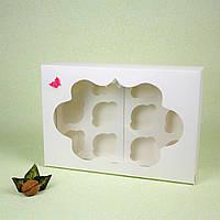 Коробка 354*241*90 для капкейков с окном (12 шт) белая