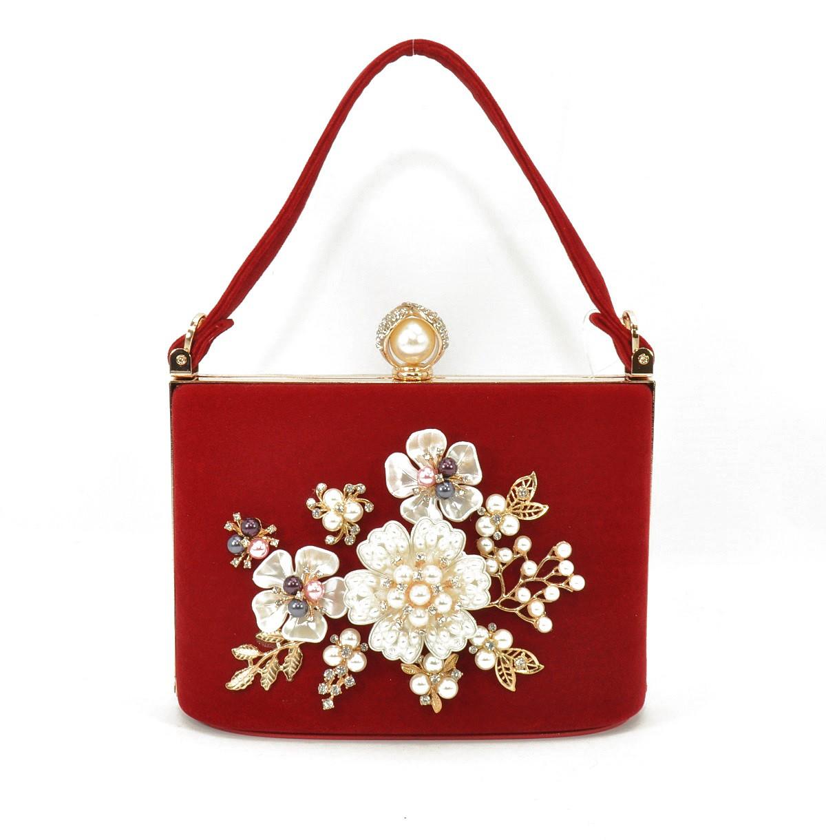 Клатч сумочка вечерняя женская велюровая красная Rose Heart 1661-4