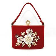Клатч сумочка вечерняя женская велюровая красная Rose Heart 1661-4, фото 1
