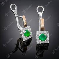 Серьги серебряные 380 Агат Зеленый Rh
