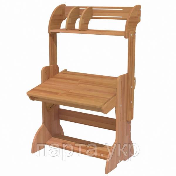 Письменный стол парта, дерево бук, 70см + надстройка