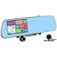 Зеркало регистратор с передней поворотной камерой на 300 грудусов, GPS и задней камерой