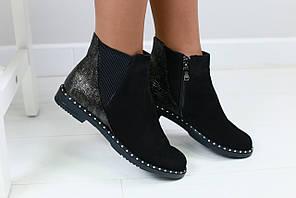Женские ботинки, замшевые, черные, на резинке, на байке