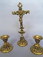 Крест с двумя подсвечниками из бронзы
