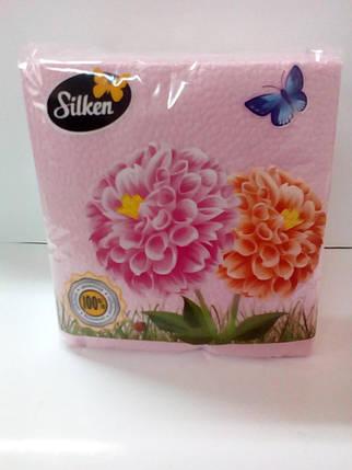 Серветки Plushe 1-шарові паперові 24 Рожеві 100шт (шт.), фото 2