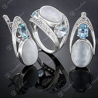 Серебряный комплект 034 Лунный камень / Топаз Rh