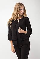 Черный женский пиджак без воротника прямого пошива