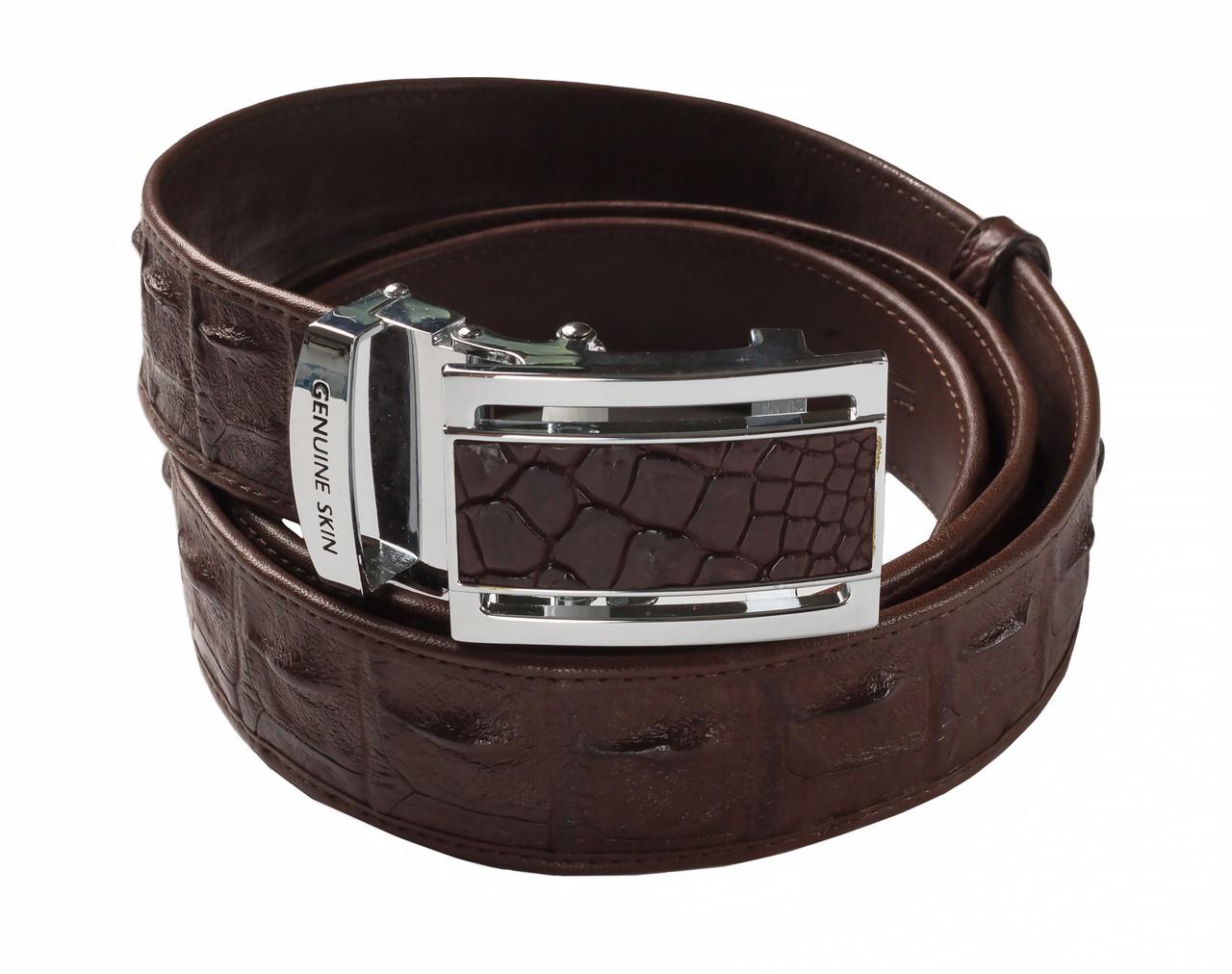 Ремень из кожи крокодила  Ekzotic Leather  Темно - коричневый (crb08)