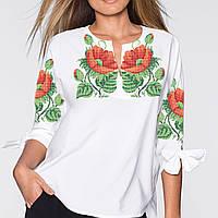 Заготовка вишиванки жіночої сорочки та блузи для вишивки бісером Бисерок « Маки 16» (Б daec68a25727a