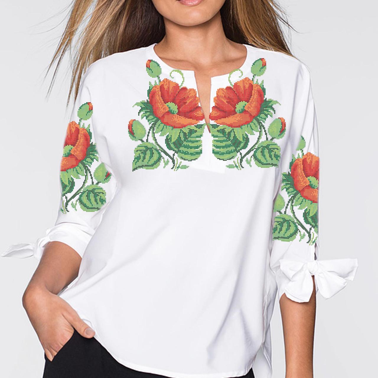 Заготовка вишиванки жіночої сорочки та блузи для вишивки бісером Бисерок «Маки 16» (Б-16 ГБ) Габардин