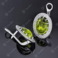 Серьги серебряные 476 Янтарь Зеленый Rh