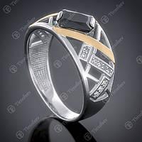 Перстень серебряный 457 Черный Rh