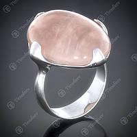 Перстень серебряный 449 Кварц Розовый Rh