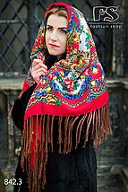 Кремовый павлопосадский платок Осенний круговорот, фото 2