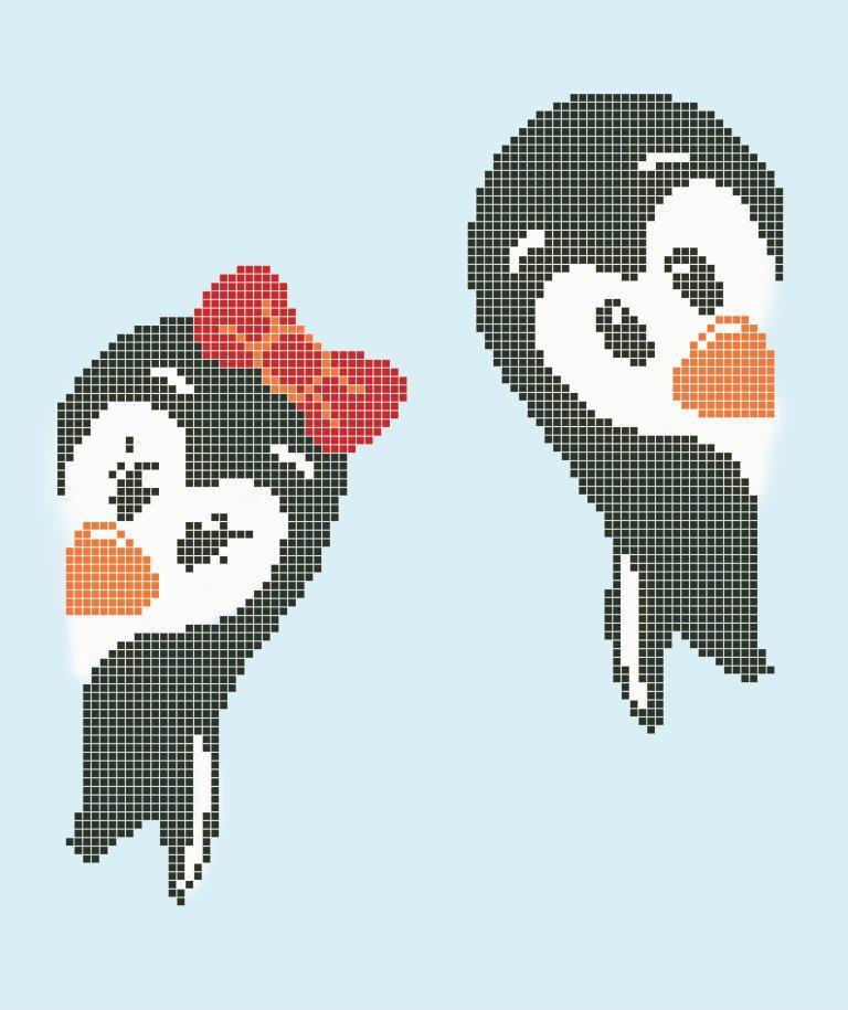 Схема для вишивки та вишивання бісером Бисерок «Пінгвінчики» (A4) 20x25 (ЧВ-3143 (10))