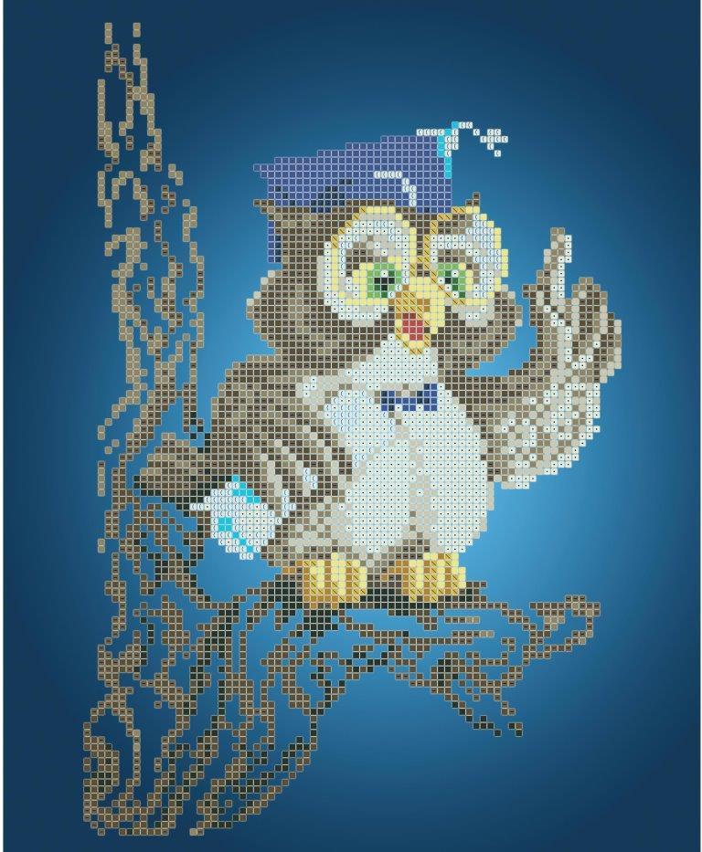 Схема для вишивки та вишивання бісером Бисерок «Мудре совеня» (A4) 20x25 (ЧВ-3141 (10))