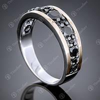 Перстень серебряный 424 Черный Rh