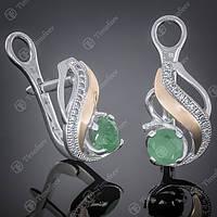 Серьги серебряные 420 Агат Зеленый Rh