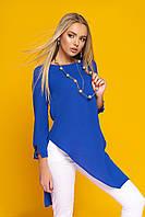 Лёгкая женская блуза-туника, с ассиметричным низом, креп-шифон, электрик, размер 44, 46, 48, 50
