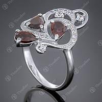 Перстень серебряный 418 Гранат Rh