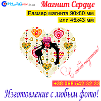 Свадебные магниты Сердце на холодильник 014